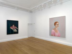 In Homage at Skarstedt London installation view,  George Condo, Portrait of a Woman (right), 2002,  Francis Bacon, Study for a Pope III (left) 1962,  Image courtesy of Skarstedt