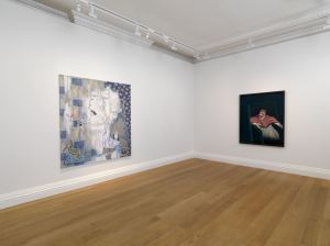 In Homage at Skarstedt London installation view,  Sigmar Polke, This is How You Sit Correctly (left), 1982,  Francis Bacon, Study for a Pope III (right), 1962,  Image courtesy of Skarstedt
