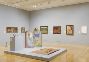 Installation view at Tate Britain Tate Photography With: Duncan Grant  Rug c.1932 Three‑Fold Screen c.1930 Wedgwood creamware jug incorporating a childhood portrait of Alan Clark 1932 Wedgwood creamware jug incorporating portraits of Kenneth and Jane Clark 1932 Private Collection  and a selection of other works.