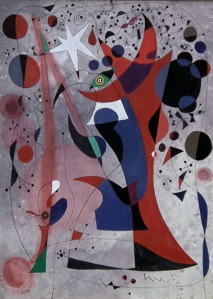 Constallation, In the style of Joan Miro. Oil on canvas.