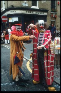 Damien Hirst and Angus Fairhurst as clowns at the original Fete credit Guy Moberly