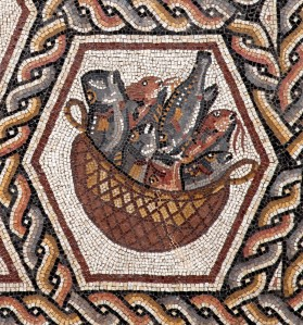 The Lod floor mosaic (detail), late third C.E., Israel Antiquities Authority.  Photo: © Israel Antiquities Authority / Nicky Davidov
