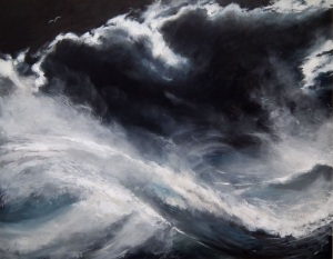 Sail On Silver Bird/ Storm At Sea, In the style of John Myatt. Oil on canvas.