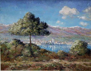 View Of Antibes, In the style of Claude Monet. Oil on canvas.