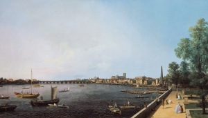 Giovanni Antonio Canal, called Canaletto, London: The Thames from Somerset House Terrace towards Westminster, c. 1750.  Image copyright of Royal Collection Trust/c Her Majesty Queen Elizabeth II 2013.