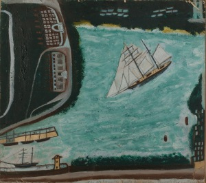 Alfred Wallis, The Schooner the Beata, Penzance, Mount's Bay, and Newlyn Harbour, Undated, Oil on board, 40 x 50.5 cm, Private Collection