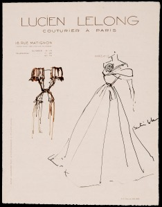 Christian Dior (1905 - 1957) Original Fashion Drawing 'Satin Blanc' Inscribed Pen & Ink on Cream Lucien Lelong Headed Paper 28 x 22 cms £5,500 ©
