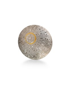 Craig Stuart – White Gold & Silver Mokume Gane Halo Discus Brooch with Diamonds (Week One, Stand 55)