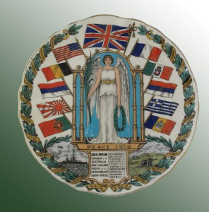 "Peace Plate An extremely rare W. H. Goss ""Peace"" plate, c.1919, China - transfer printed ceramic, diameter: 8 in. (20.5 cm)"
