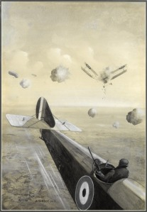 Geoffrey Watson (1894-1979), A Direct Hit, 1918, Signed, titled and dated, Monochrome watercolours with gouache, 20 1/2 x 14 1/4 in. (52 x 36 cm)