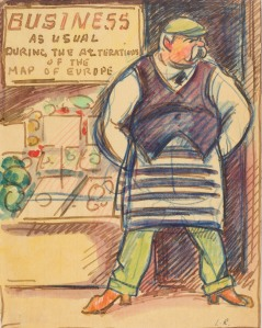 Ludovic-Rodolphe (Rodo) Pissarro (1878-1952), Business as Usual, c.1916, Signed with initials, Watercolour on paper, 7 x 5 1/2 in. (14 x 8 cm)