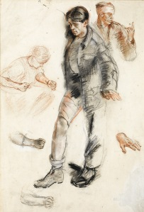 Henry Tonks (1862-1937), Study for 'An Advanced Dressing Station in France', 1918 Pastel on paper, 20 x 14 in. (50.5 x 35.5 cm)