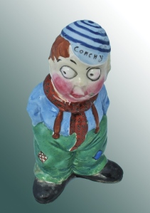 "CONCHY An extremely rare hand-painted Savoy china (Birks Grotesques) World War One CONCHY. A Chloe Preston ""peek-a-boo"" character. Height: 4 1/2 in. (11.5 cm)"