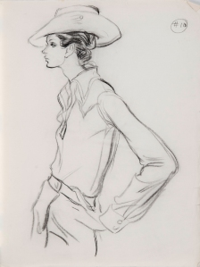 Brian Stonehouse M.B.E. (1918 - 1998) Original Working Fashion Illustration for US Magazine Cow Girl C1970's, Charcoal, signed & inscribed 64 x 46 cms £2,500 ©