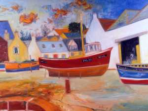 "JOHN BELLANY CBE, RA (1942 - 2013)  ''Boats in Harbour' Oil on canvas signed ""36 x 48""  Manya Igel Fine Art"