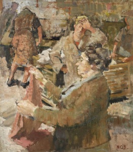Norman Blamey RA OBE 1914 - 2000  Jumble Sale, 1949 oil on canvas  H 38 x W 31 cm (H 15  x W 12 1⁄4 in)
