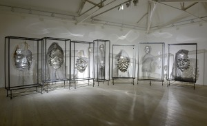 Xavier Mascaró Masks 2014 Iron, plexiglass, aluminum, mesh, fabric  Dimensions variable Image courtesy of the Saatchi Gallery, London (c) Justin Piperger, 2014