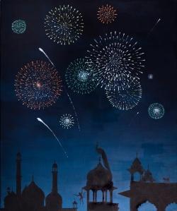 Festival of Light Oil on linen Signed 25.6 x 21.3ins (65 x 54cm)