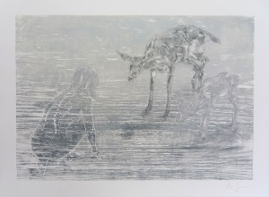 Ghost of Omega: Monotype with woodcut on paper 82cm x 60cm ©