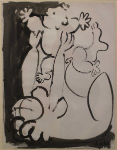 Baltasar Lobo 1910- 1993  Mere et enfant, 1953 signed and dated lower right, titled on reverse Ink on paper 25 x 19 ins 65 x 50 cm