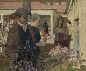 Norman Blamey RA OBE 1914 - 2000 The Flower Stall, 1949 oil on canvas   H 51 x W 61 cm (H 20 1⁄8 x W 24  in)