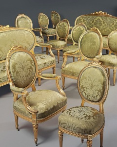 Lot Number 254   OF LOUIS XVI STYLE, LATE 19TH CENTURY A DANISH ROYAL GILTWOOD ELEVEN-PIECE SALON SUITE Estimate 12,000 - 18,000 British pounds
