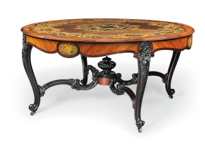 Lot Number 255   SECOND HALF 19TH CENTURY A DANISH ROYAL TULIPWOOD, ROSEWOOD, MAPLE AND MARQUETRY CENTRE TABLE Estimate 15,000 - 25,000 British pounds