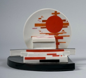 INKWELL WITH SUPREMATIST COMPOSITION Design: Nikolai Suetin, 1923 Execution: beginning of the 1930s Porcelain painted in overglaze colours Height – 12,2 cm