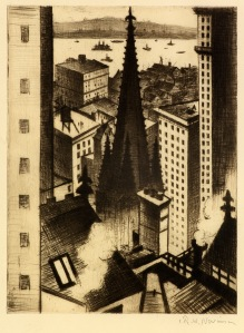 The Temples of New York, 1919 / Drypoint / 19.7 x 15.5 cm