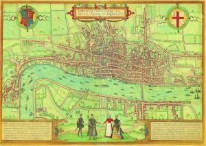 Braun and Hogenberg - The Earliest Extant Plan of London, 1574. £9500
