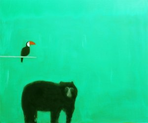 Andrew Squire 'Spectacled Bear' Oil on canvas 20 x 24 inches Courtesy of Stafford Gallery
