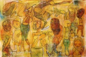 Artist: Kiboko Title: In all the wrong places Medium: Mixed media on canvas, 2012 76x51cm £6700.00 Kamba Fine Art