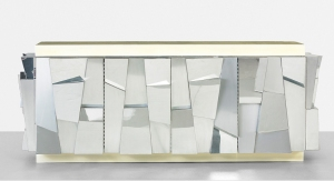 PAUL EVANS Faceted Cabinet Usa 1970 Paul Evans for Studio Diectional Cabinet features two bi-fold doors concealing four adjustable shelves Chrome-plated steel Laminate wood Dimension 84w x 25d x 32.25 inches, 213 w x 63.5 d x 82 cm Courtesy of Galleria Rosella Colombari