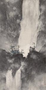 Pure Echo in the Empty Valley  Ink and colour on paper Dimensions: 156.0cm by 81.0cm Signed: Jiawu zhongxia Li Huayi bi,  (Li Huayi painted this in mid-summer of the Jiawu year [2014]) Artist's seal: Li Huayi yin
