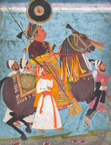 Equestrian portrait of Abhai Singh of Jodhpur Jodhpur Circa 1720-30 30.5 x 23.4 cm; opaque watercolour and gold on paper laid down on card