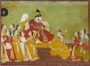 Maharana Jagat Singh II (r. 1734-1751) enjoying a dance performance  Udaipur Circa 1740 26 x 35 cm; opaque pigments and gold on paper