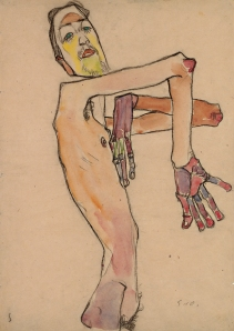 Egon Schiele (1890-1918) Erwin Dominik Osen, Nude with Crossed Arms, 1910 Black chalk, watercolour and gouache 44.7 x 31.5 cm The Leopold Museum, Vienna