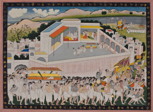 An illustration from the Ramayana: The Funeral and Cremation of Dasharatha Kangra c. 1830 40.8 x 53 cm; opaque watercolour with gold, reverse with identification inscription Ayodhya kanda 41