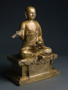 Gilt bronze seated figure of the luohan Pindola, Ming Dynasty, 15th century, height: 50.8cm.