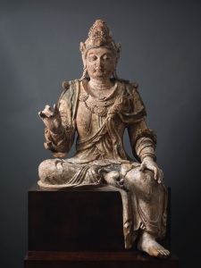 Large wood seated figure of Avalokiteshvara (Guanyin), Northern Song or early Jin period, mid 11th to mid 12th century, height: 175.0cm.