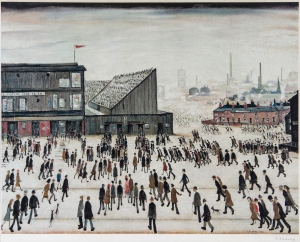 Lot 71 L.S. Lowry (1887-1976) Going to the Match Offset lithograph printed in colours, 1972, signed in pencil, the edition was 300 Est. £3,000-5,000  © Bloomsbury Auctions