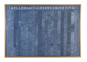 Alighiero Boetti Aelleigiaccaieerreobioetitii, 1973 Ballpoint pen on paper 70 x 100 cm. (27 1/2 x 39 3/8 in.) Provenance: Zaira Mis, Brussels Private Collection, London Exhibitions: Madrid, Museo Nacional Centro de Arte Reina Sofía; London, Tate Modern; New York, The Museum of Modern Art, Alighiero Boetti: Game Plan, October 2011 - October 2012 (exhibited at Museo Reina Sofía and Tate), p. 101, illustrated in colour Hong Kong, Ben Brown Fine Arts, Alighiero Boetti + Pier Paolo Calzolari, Mario Merz, Giuseppe Penone, Michelangelo Pistoletto, 15 May - 28 July 2012 Doha, Katara Cultural Village Foundation, Alighiero Boetti, 17 March - 2 May 2013 Bibliography: Exhibition Catalogue, London, Ben Brown Fine Arts, Alighiero Boetti, Un pozzo senza fine, Embroideries, 2006, p. 17, illustrated in colour Jean-Christophe Ammann, Alighiero Boetti, Catalogo generale, Opere 1972 – 1979, Milan 2012, vol. II, p. 89, no. 475, illustrated in colour This work is registered in the Archivio Alighiero Boetti, Rome under number 2773.