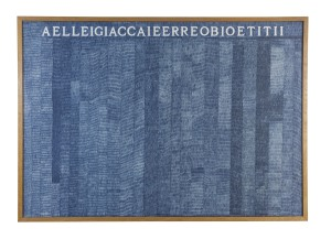 Alighiero Boetti Aelleigiaccaieerreobioetitii, 1973 Ballpoint pen on paper 70 x 100 cm. (27 1/2 x 39 3/8 in.) Provenance: Zaira Mis, Brussels Private Collection, London Exhibitions: Madrid, Museo Nacional Centro de Arte Reina Sofía; London, Tate Modern; New York, The Museum of Modern Art, Alighiero Boetti: Game Plan, October 2011 - October 2012 (exhibited at Museo Reina Sofía and Tate), p. 101, illustrated in colour Hong Kong, Ben Brown Fine Arts, Alighiero Boetti + Pier Paolo Calzolari, Mario Merz, Giuseppe Penone, Michelangelo Pistoletto, 15 May - 28 July 2012 Doha, Katara Cultural Village Foundation, Alighiero Boetti, 17 March - 2 May 2013 Bibliography: Exhibition Catalogue, London, Ben Brown Fine Arts, Alighiero Boetti, Un pozzo senza fine, Embroideries, 2006, p. 17, illustrated in colour Jean-Christophe Ammann, Alighiero Boetti, Catalogo generale, Opere 1972 – 1979, Milan 2012, vol. II, p. 89, no. 475, illustrated in colour This work is registered in the Archivio Alighiero Boetti, Rome under number 2773.