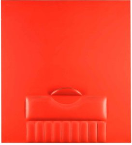 Agostino Bonalumi (Vimercate 1935 – 2013 Milan) Rosso 1965 Shaped canvas and vinyl tempera, 110.5 x 100cm/43.3x 39.4in Signed and dated on the back Authentication number: 65-072 Courtesy of Robilant + Voena