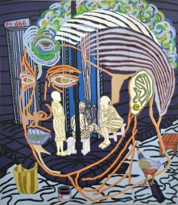Boris Nzebo  Etat des Lieux, 2013  Signed en verso  Acrylic on canvas 230 cm x 200 cm Jack Bell Gallery