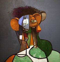 George Condo Portrait with Green Shapes, 2014 Oil on linen 170,2 x 165,1 cm 67  x 65  inches Courtesy the artist and Sprüth Magers