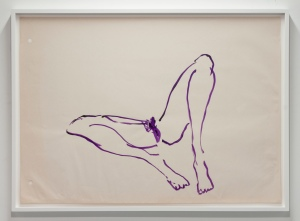 TRACEY EMIN Untitled (Purple Virgin Sketch), 2004 acrylic on paper 22.5 x 32 inches (paper) 57.2 x 81.3 cm 25 x 34 inches (framed) 63.5 x 86.4 cm Courtesy the artist and Lehmann Maupin, New York and Hong Kong