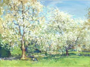 Luke Martineau Blossom in the park oil on canvas 18 x 24 ins (46 x 61 cms)