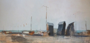 Tom Homewood Old fishing huts at Hastings, 2014 Oil on Panel 80 x 40cm