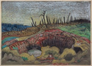 Paul Nash,  A Farm, Wytschaete, 1917.  Ink, chalk and watercolour on paper,  25.7 x 35.9 cm.  Courtesy Piano Nobile.